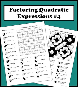 Factoring Quadratic Expressions Color Worksheet #4
