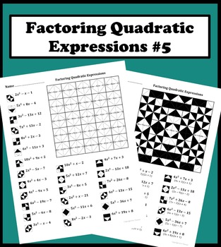 Factoring Quadratic Expressions Color Worksheet #5 by Aric Thomas