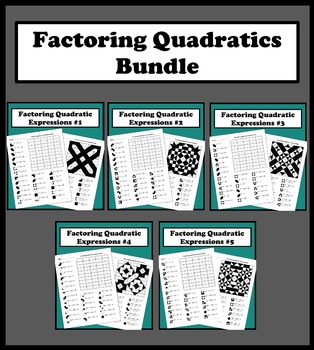 Factoring Quadratic Expressions Color Worksheet Bundle