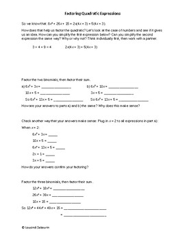 Factoring Quadratic Expressions Discovery Lesson
