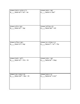 Factoring Quadratic Expressions Involving GCF Circuit Worksheet