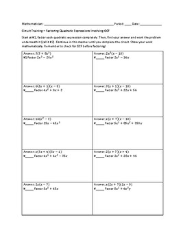 Factoring Quadratic Expressions Involving GCF Circuit Worksheet Factoring Quadratic Expressions Involving GCF Circuit Worksheet