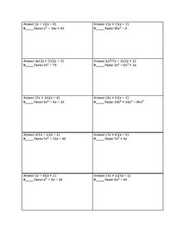 Factoring Quadratic Expressions Mixed Review Circuit Worksheet