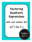Factoring Quadratic Expressions Task Cards