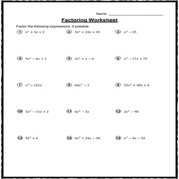 Factoring Quadratic Expressions Worksheet (All Types) by Math Worksheets
