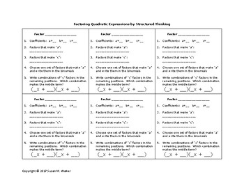 Factoring Quadratic Expressions by Structured Thinking Graphic Organizer