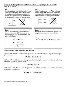 "Factoring Quadratic Expressions using the ""Box"" Method"
