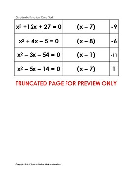 Factoring Quadratic Functions Card Sort (a=1)