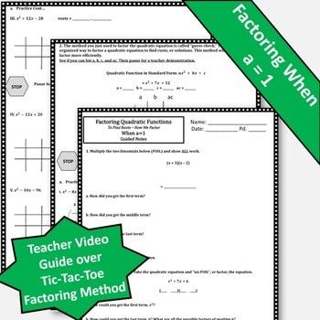 Factoring Quadratic Functions Notes! Factoring Trinomials Notes!