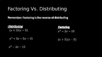 Factoring Quadratic Polynomials - PowerPoint Lesson (3.6)