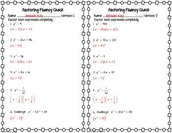 Factoring Quadratic Special Patterns Fluency Check : No Prep Fluent in Math