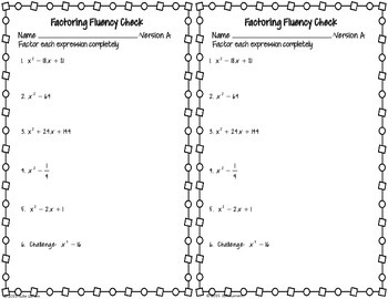 Factoring Quadratic Special Patterns Fluency Check : No Prep Fluent in Math