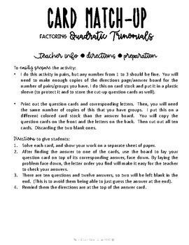 Factoring Quadratic Trinomials Card Match Up Activity