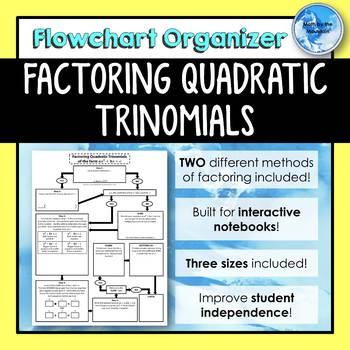 Factoring Quadratic Trinomials Flowchart Graphic Organizer Tpt