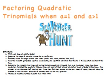Factoring Quadratic Trinomials Scavenger Hunt