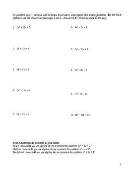 Factoring Quadratic Trinomials, a>1