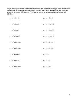 Factoring Quadratic Trinomials, a=1