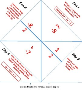"Factoring Quadratic Trinomials with the ""Big X"" Foldable"