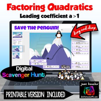 Factoring Quadratics Save the Penguin Digital Scavenger Hunt with GOOGLE Slides