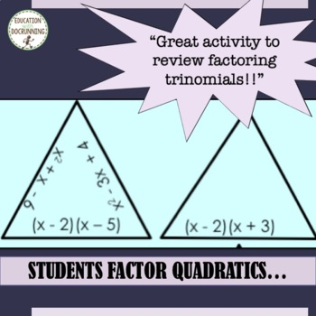 Quadratic expressions - Factor Quadratic Expressions Puzzle Activity