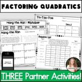 Factoring Quadratics Activities! Partner Pack!