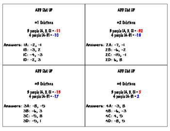 Factoring Quadratics Add 'Em Up Activity