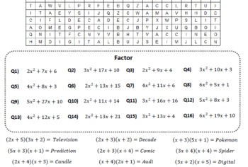 Factoring Quadratics BUNDLE Word Search #4-6