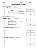 Factoring Quadratics Box Method 1