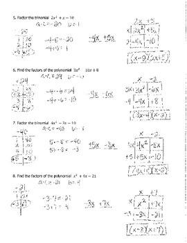 Factoring Quadratics Box Method 1 KEY