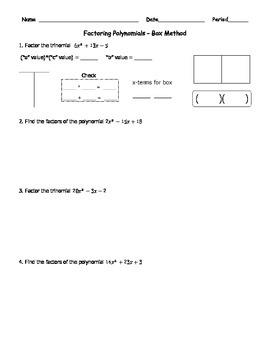 Factoring Quadratics Box Method 2