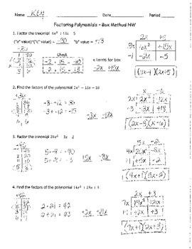 Factoring Quadratics Box Method 2 KEY