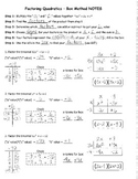 Factoring Quadratics Box Method NOTES KEY
