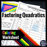 Factoring Quadratics Color By Number