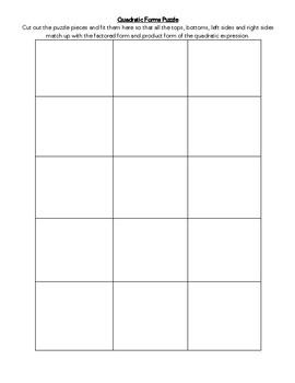 Factoring Quadratics Cut & Paste Puzzle