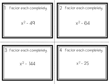 Factoring Quadratics - Difference of Squares Task Cards