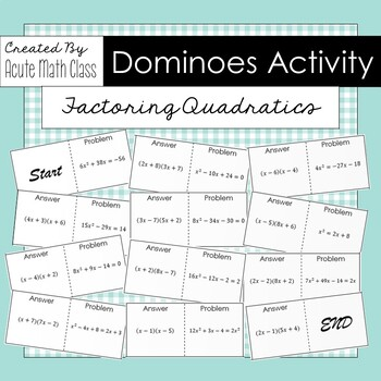 Factoring Quadratics Dominoes Activity