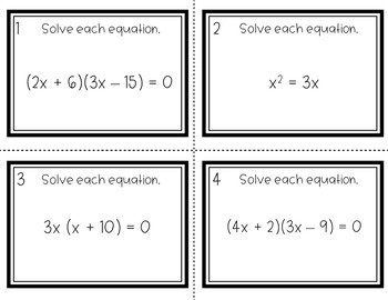 Factoring Quadratics - Factoring & Distributive Property Task Cards