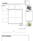 Factoring Quadratics Graphic Organizer