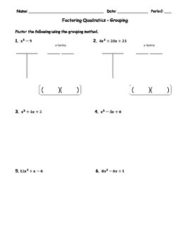 Factoring Quadratics Grouping 1