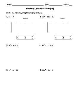 Factoring Quadratics Grouping 2