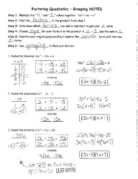 Factoring Quadratics Grouping NOTES KEY