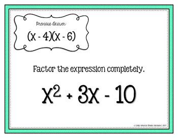 Factoring Quadratics Leading Coefficient is 1 Scavenger Hunt Activity