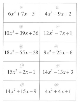 Factoring Quadratics Matching a>1 a not equal to 1 20 sets activity game no GCF