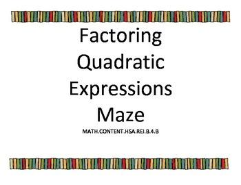 Factoring Quadratics Maze