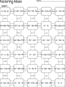 factoring quadratics maze 3 worksheets by lisa tarman tpt. Black Bedroom Furniture Sets. Home Design Ideas