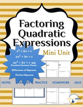 Factoring Quadratics Mini Unit Bundle