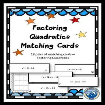 Factoring Quadratics/Multiply Binomials Matching Card Set
