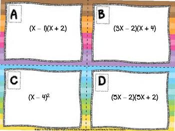 Factoring Quadratics & Multiplying Bonomials Task Cards - Double Set
