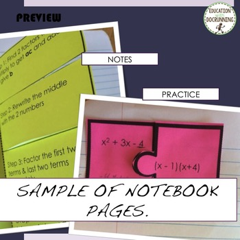 Factor Quadratics Interactive Notebook Foldable and Practice Problems
