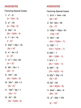 Factoring Quadratics Practice 4 Half Page Sets Of 12 Problems By